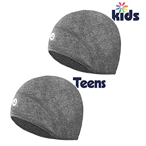 EMPIRELION Kinder Helm Liner Teens Thin Thermal Skull Caps Cover Ohren Beanie Kinder Laufmütze für Jungen & Mädchen, grey melange, 4-6-8 Kids