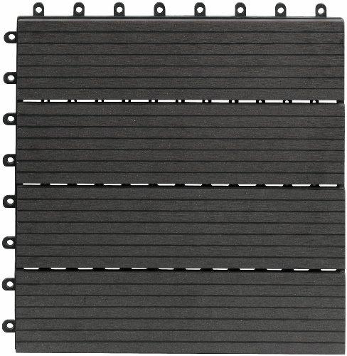 Dalles massives pour terrasse Gartenfreude EVERFLOOR en WPC (bois composite), Anthracite (Gris Foncé), 10 pièces, 30 x 30 cm (env. 0,9 m2)