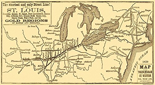 MAPS OF THE PAST Toledo Wabash and Great Western Railroa - 1859-41.75 x 23 - Matte Canvas