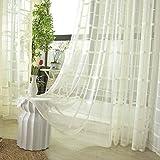 HHJJ Cortinas de gasa Jacquard transparente con ojales Cortinas de estilo simple y moderno, suave, transpirable, cortina transparente para dormitorio 2er Set para ventanas grandes -75615Z0X8U