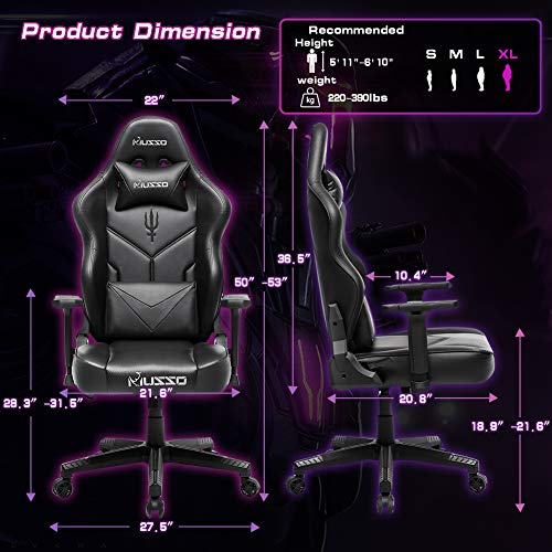 Musso Executive Swivel Office Chair, High-Back Racing Gaming Chair, Ergonomic Adjustable Computer Desk Chair, PU Leather Task Chair with Headrest and Lumbar Support (Trident Pattern)…