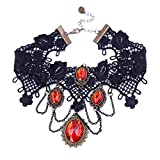 ETERNITY J. Vintage Princess Lolita Lace Victorian Necklace Edwardian Vampire Gothic Choker Pendant (Red)