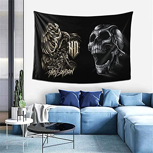 Zooly Tapiz de pared de Harley Davidson, material de fibra, para dormitorio, salón, decoración, 203 x 152 cm