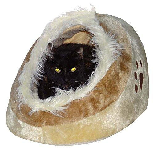 Waschbares Flauschi Katzenhöhle Tierbett mit Kuscheleinlage für Hund, Katze & Haustier