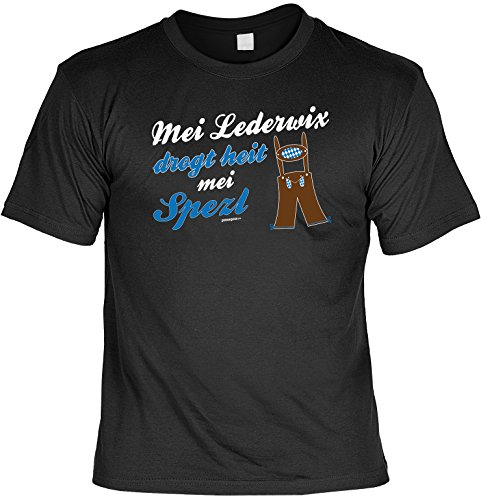 T-Shirt - MEI Lederwix drogt heit MEI Spezi - lustiges Bayerisches Sprüche Shirt ideal für's Oktoberfest statt Lederhose und Dirndl