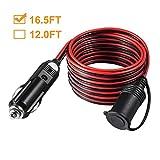 HowiseAcc 12V 24V 5m/16.5Ft câble d'extension pour Prise Allume-Cigare avec Bouchon Anti-poussière...