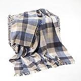 Irish Blanket 95% Merino Wool 5% Cashmere Made in Ireland Blue and Cream Check…
