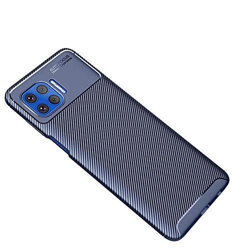 Haotian Adatta per Cover Motorola Moto G 5G Plus, Design in Antiurto Morbido TPU Fibra di Carbonio Originale Elegante e Super Flessibile. Blu
