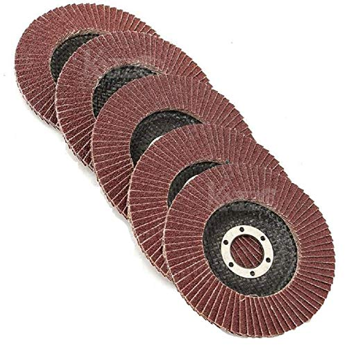 Katzco Grinding Wheels – Flap Grinding Wheels for Angle Grinder - 5 Piece 4.5 Inch Finish Work, Deburring, and Light Grinding - Size 4 1/2 X 7/8 Inch - Grit Aluminum Oxide - 40, 60, 80, 120, 180 Grit