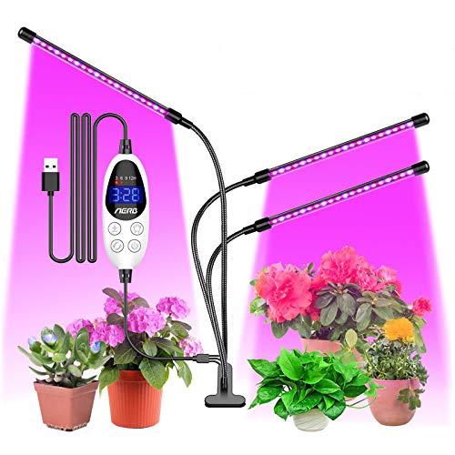 Aerb Pflanzenlampe LED, 48W Pflanzenlicht Pflanzenleuchte Wachstumslampe Vollspektrum 3 Beleuchtungsmodi 6 Lichtstärken Wachsen licht mit Zeitschaltuhr für Zimmerpflanzen