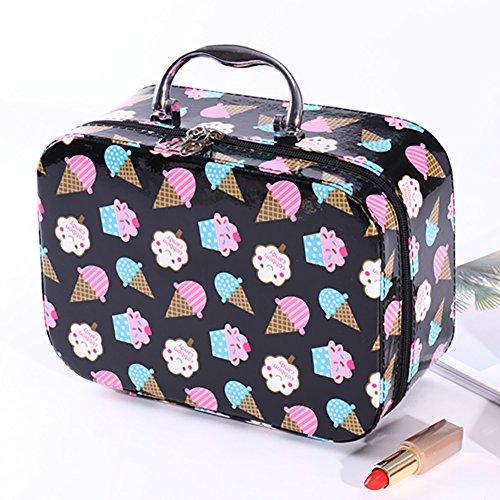 Sac à maquillage petit, Sacs à maquillage voyage Portable Grande capacité Boîte de rangement Simple Imperméable Crème glacée Sac de lavage Sac de toilette pour femme-Noir B 25x12x18cm(10x5x7inch)