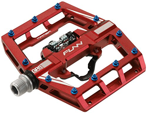Mamba Mountain Bike Clipless Pedal Set - Single Side Clip Wide Platform MTB Pedals, SPD Compatible, 9/16-inch CrMo Axle (Red)