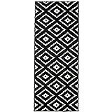 Carpeto Läufer Teppich Modern Schwarz 70 x 150 cm Geometrische Muster Kurzflor Furuvik Kollektion