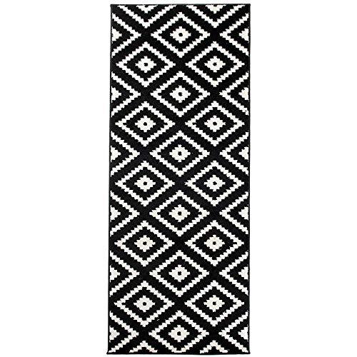 Carpeto Rugs Teppich Läufer Flur - Orientalisch Geometrisch Teppichläufer - Kurzflor, Weich - Flurläufer für Wohnzimmer, Schlafzimmer - Teppiche - Meterware - Schwarz - 70 x 150 cm