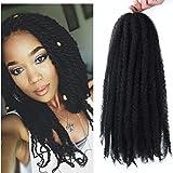 Marley Hair 4 Packs Afro Kinky Curly Crochet Hair 18 Inch Long Marley Twist Braiding Hair Kanekalon Synthetic Marley Braids Hair Extensions for Women 1b
