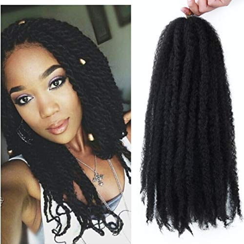 Marley Hair 4 Packs Afro Kinky Curly Crochet Hair 18 Inch Long Marley Twist Braiding Hair Kanekalon Synthetic Marley Braids Hair Extensions for Women 1b