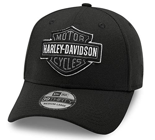 HARLEY-DAVIDSON 39THIRTY Baseball Cap Cappy Mütze Tonal Logo, Schwarz, L