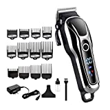 Hair clippers Cord/cordless Professional Hair Clipper Electric Hair Trimmer For Man Hair Cutter Pro Hair Cutting Machine Haircut Barber Tool (color : 12pcs guide comb)