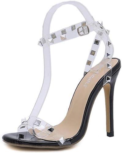 Femmes Open Open Toe Rivets Clairs Sandales à Talons Hauts Slingback Robe Soirée Chaussures De Mariage  grandes marques vendent pas cher