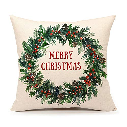 4TH Emotion Merry Christmas Holly Leaves Wreath Throw Pillow Cover Watercolor Leaf Cushion Case for Sofa Couch 18x18 Inches Cotton Linen