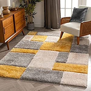 "Well Woven Ella Yellow Geometric Boxes Thick Soft Plush 3D Textured Shag Area Rug 4×6 (3'11"" x 5'3″)"