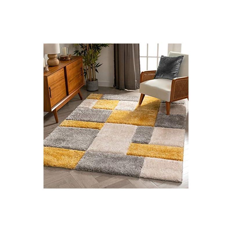 "silk flower arrangements well woven ella yellow geometric boxes thick soft plush 3d textured shag area rug 4x6 (3'11"" x 5'3"")"