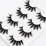 Losha False Eyelashes 20mm 4 Pairs Wispy Natural Long Faux Mink Strip 3D Lashes Multi-Pack | Fame