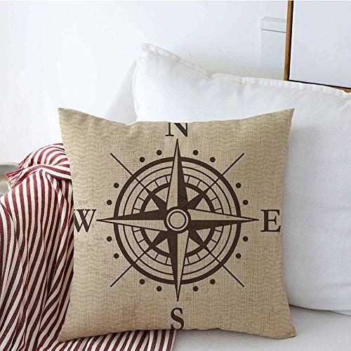 Decorative Throw Pillow Covers Wind Direction Rose Travel Geography East Map Signs Symbols Meridian Treasure Vintage Round Arrow Linen Square Pillow Case for Couch Sofa 16x16 Inch
