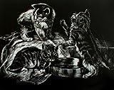 WASO-Hobby - 4er Scrapy Kratzbilder Set - Tierkinder-Motive / Silber *Groß* -