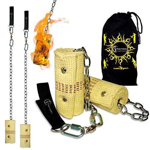Pro Feuer Poi (2x 100mm Docht - Large Flammen) Flames N Games Fire Poi +Reisetasche. Swinging Poi, Spinning Pois und Feuer Jonglieren für Anfänger und Profis.