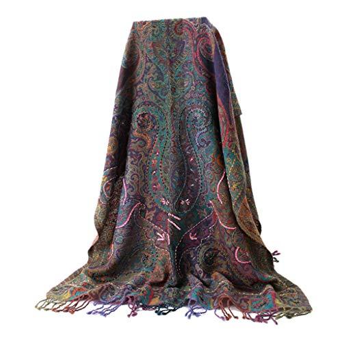 Umschlagtücher Schal Kaschmir Schal Herbst Und Winter Warme Schal Handgemachte Stickerei Perlen Schal Indischen Wollschal (Color : Purple, Size : 200 * 70cm)