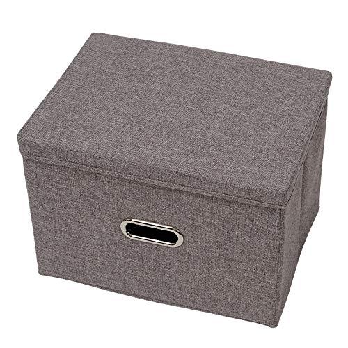 Caja de Almacenaje de Sabana de Algodon, 39.5x27x26cm Cajas de Almacenamiento Plegable con Tapa, Organizadoras Cubos de Almacenamiento con Asa, Organizadores de Contenedore para Ropa Juguetes Gris