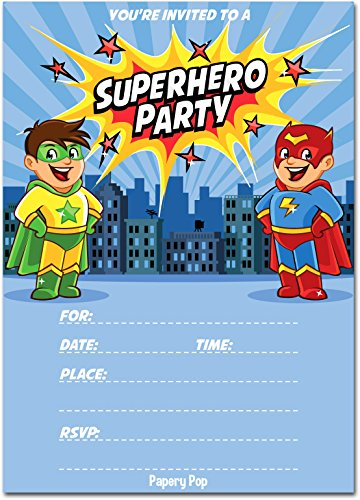 Superhero Birthday Invitations with Envelopes (15 Count) - Kids Birthday Party Invitations for Boys or Girls
