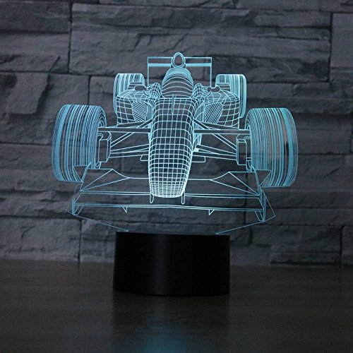 F Automobile Racing Creative Novelty 3D LED Night Light USB Table Lamp Kids birthday Gift Bedside home decoration