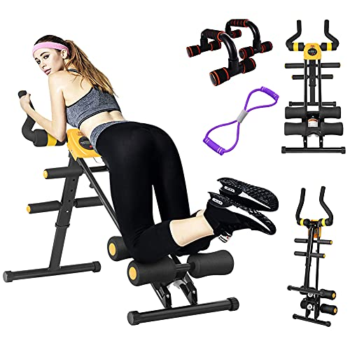 Core & Abdominal Trainers, Ab Machine Exercise Equipment for Home Gym, Strength Training Ab Cruncher Foldable Fitness Equipment, Whole Body Workout Machine for Leg, Thighs, Buttocks Shaper (Yellow)