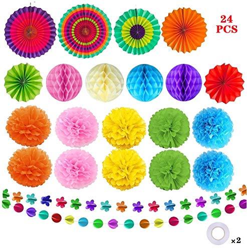 TATAFUN 24 Piezas Decoración Fiesta Abanicos de Papel Flores Pompom Bolas de Nido de Abeja Guirnaldas para Celebración…