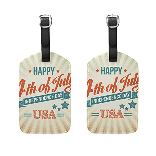 COOSUN 4Th of July Luggage Tags Travel Labels Tag Name Card Holder for Baggage Suitcase Bag Backpacks, 2 PCS