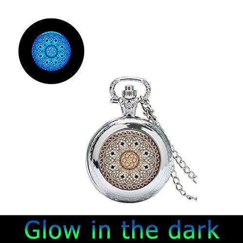 Glowlala@glowing Celtic Glowing Watch Jewelry Glow in the Dark Glass Watch Pendant Glowing Necklace Celtic Decoration (3)