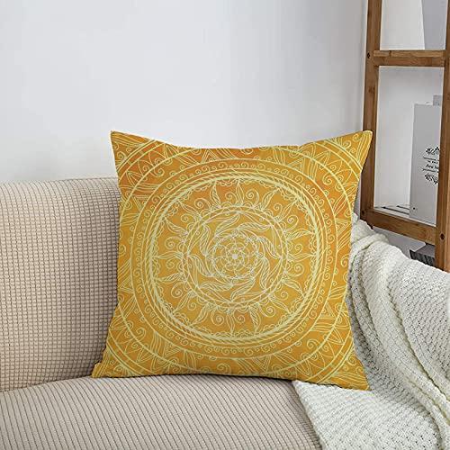 Fundas de cojines sencillas y clásicas de 45 x 45 cm,Mandala amarilla, estilo vintage de encaje, círculos autén,ideales para casa, oficina o para la espalda en el coche - Fundas de Poliéster para sofá