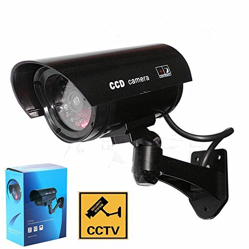 Outdoor Indoor Fake Dummy Security Camera Waterproof CCTV Surveillance Simulated Cameras W/ Blinking Led Light +Warning Security Alert Sticker Decals