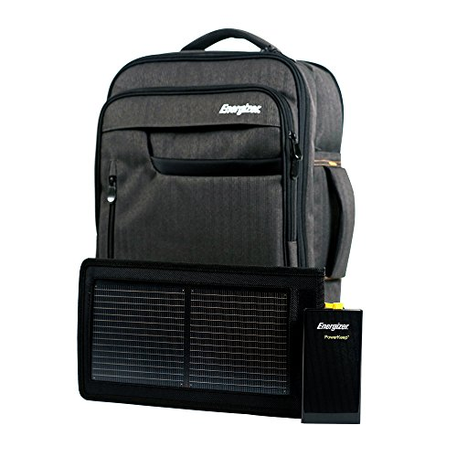 Energizer PowerKeep PRO Solar Executive Backpack Briefcase Includes Rugged and Flexible Solar Panel, 10000mAh Battery, powerbank,Laptop Compartment,Business,Travel