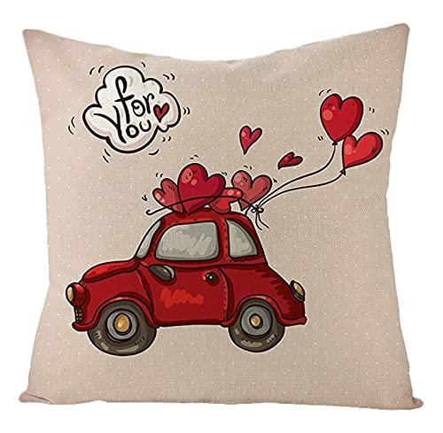 Agoble Federa Cuscino Divano Rosso Bianco Palloncino D'Amore Per Auto Rossa, Biancheria Federa Seta 40x40cm/16x16Inch