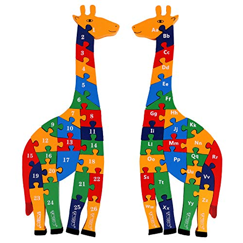 Toys of Wood Oxford TOWO Puzzle in Legno a Forma di Giraffa con Numeri e Lettere dell'Alfabeto - Dimensioni Grandi 41cm - Blocchi con Alfabeto e Numeri per Bambini di 3 Anni