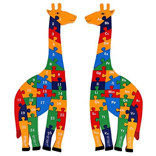 Toys of Wood Oxford TOWO Rompecabezas de Madera del Alfabeto en Forma de Jirafa - Bloques de Alfabeto Grueso para Aprender números, Aprender Colores y Formas - Rompecabezas de Animales para niños