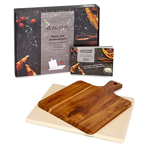 KLAGENA AS-626 Pizzastein-Set für Backofen & Grill, inkl. Pizzastein & Pizzaschaufel aus hochwertigem Akazienholz, Brotbackstein-Set aus Cordierit 38x30x1,5 cm