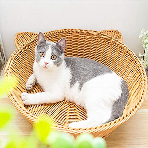 Pet Nest, Hand-Made Rattan Wicker Cat Bed Sofa, Cool Rope Round Bed House In Summer, Cat Lounge Sofa Apartment, Clean And Comfortable, Cute And Soft, Suitable For Cats And Dogs In The House.