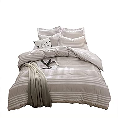 Merryfeel Seersucker Stripe 100% cotton yarn dyed Duvet Cover Set - Full/Queen Khaki