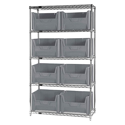 "Quantum Storage Systems WR5-700GY 5-Tier Complete Wire Shelving System with 8 QGH700 Gray Giant Stack Bins, Chrome Finish, 74"" Height x 42"" Width x 18"" Depth"