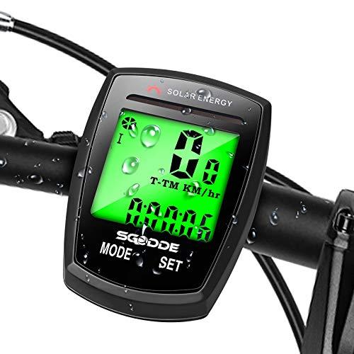 SGODDE Fahrradcomputer Kabellos mit Sonnenenergie IP54 wasserdichte 20 Funktionen Wireless Bike Computer LCD Geschwindigkeit Fahrradtacho Radcomputer,drahtlos Radcomputer Tacho,für alle Fahrradtypen