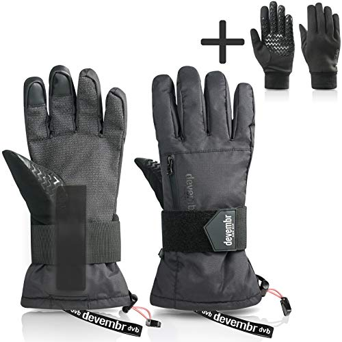 devembr Advanced Ski Gloves with Removable Liner&Wrist Guards,Kevlar Material,L